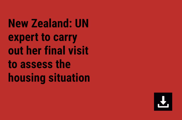 New Zealand: UN expert to carry out her final visit to assess the housing situation