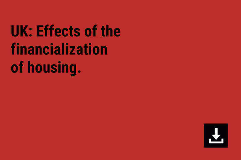 UK: Effects of the financialization of housing