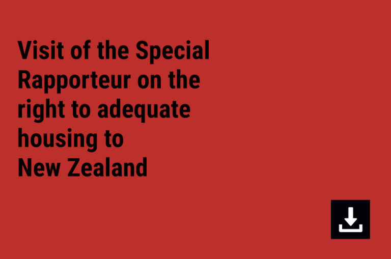 Visit of the Special Rapporteur on the right to adequate housing to New Zealand