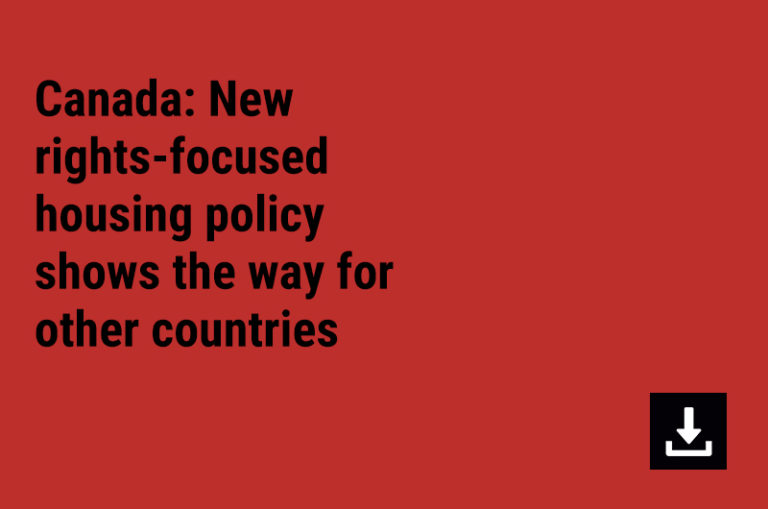 Canada: New rights-focused  housing policy shows the way for other countries