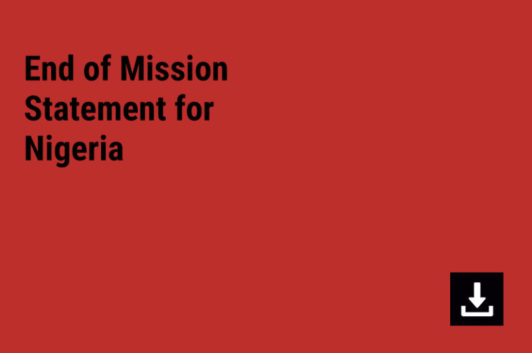 End of Mission Statement for Nigeria